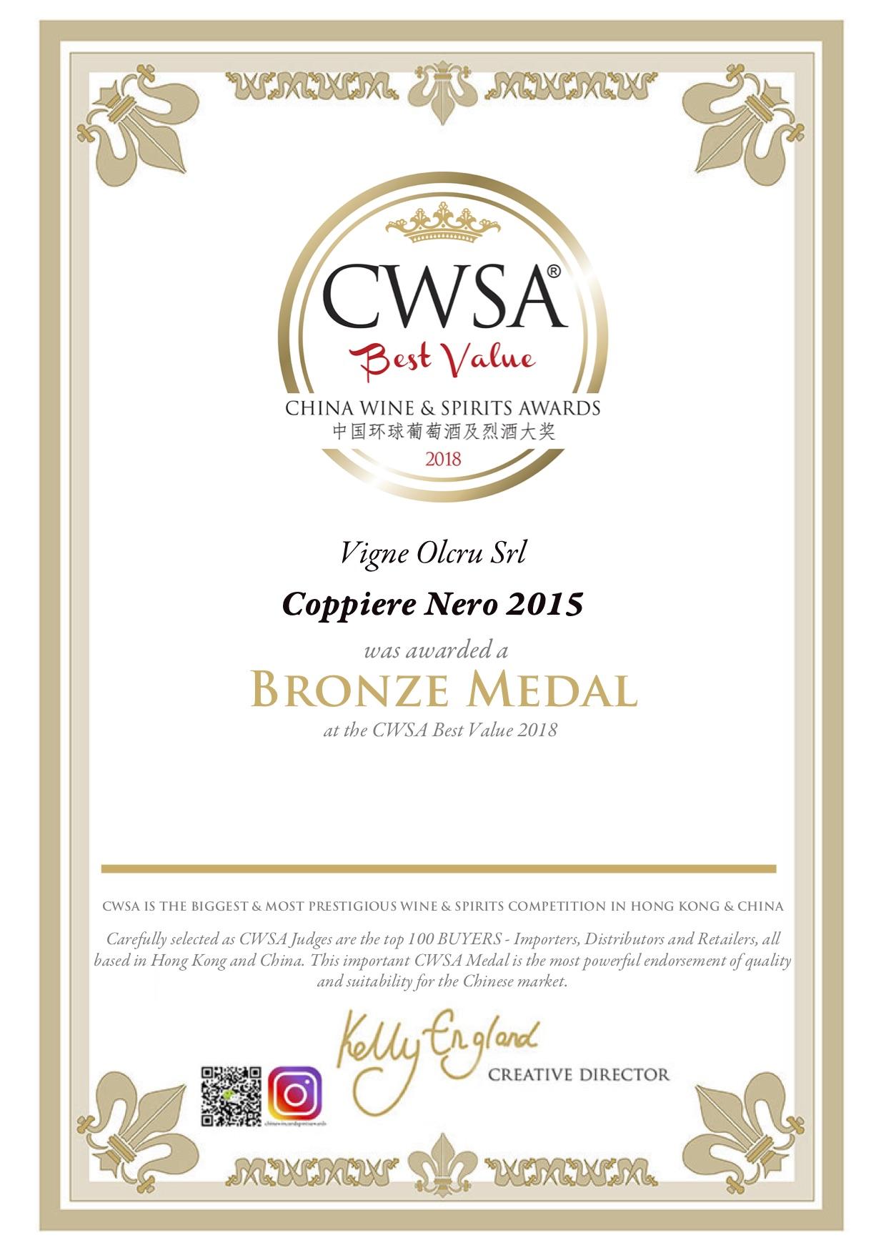 CWSA Best Value 2018 – Coppiere Nero 2015