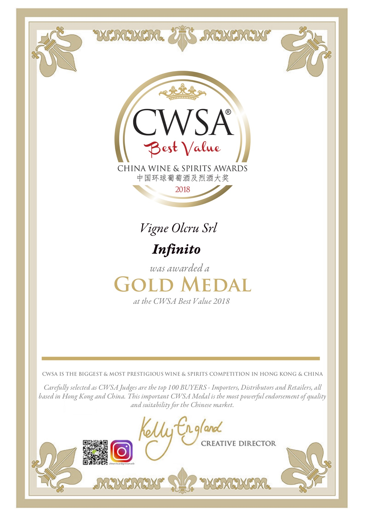 CWSA Best Value 2018 – INFINITO