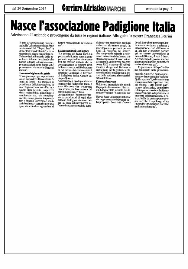 Corriere Adriatico 29 Settembre 2015