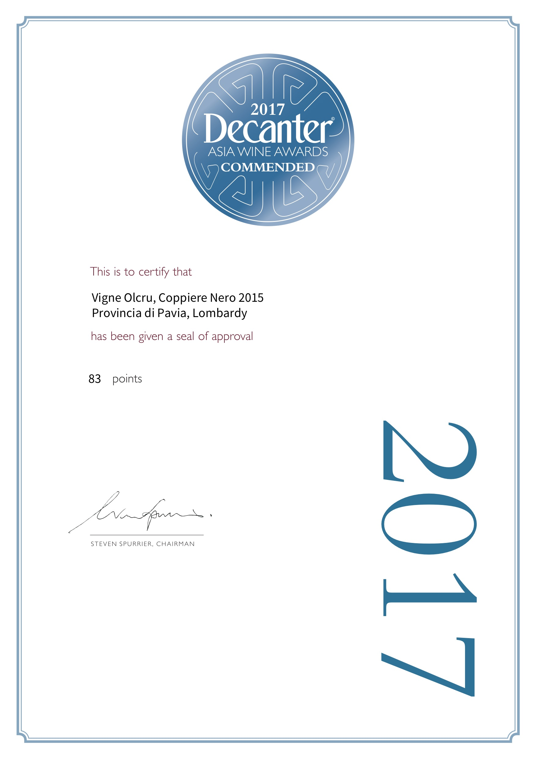 Decanter Asia 2017 – Coppiere Nero 2015