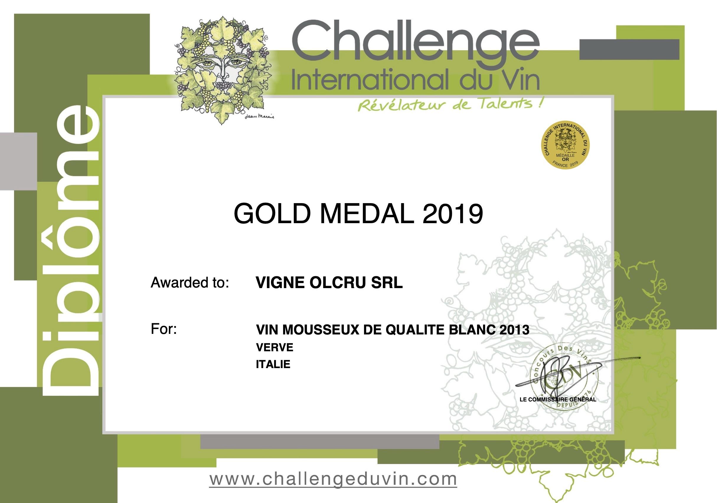 Challenge international Du Vin 2019 – Verve 2013 – ORO