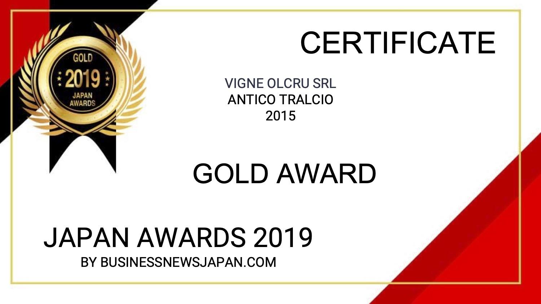 Japan Awards 2019 – Antico Tralcio 2015 – ORO
